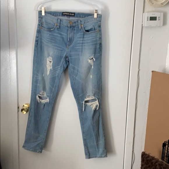 Express Denim - Blue distressed Girlfriend Jeans